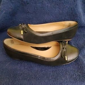 Lands end black suede ballet flats